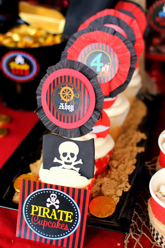 Pirate Birthday Party Pirate Cupcake Toppers Boy Pirate Birthday Party Girls Pirate Party Pirate Ship Party Pirate Printables