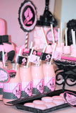 PARIS Birthday Party- Paris Party- STRAW FLAGS- Pink- Poodle