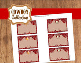 COWBOY Party- Horse Party- Red Cowboy- Horse FOOD Labels- Western Party