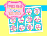 SWEET SHOPPE Party- Sweet Shop Party- THANK YOU TAGS- Candy