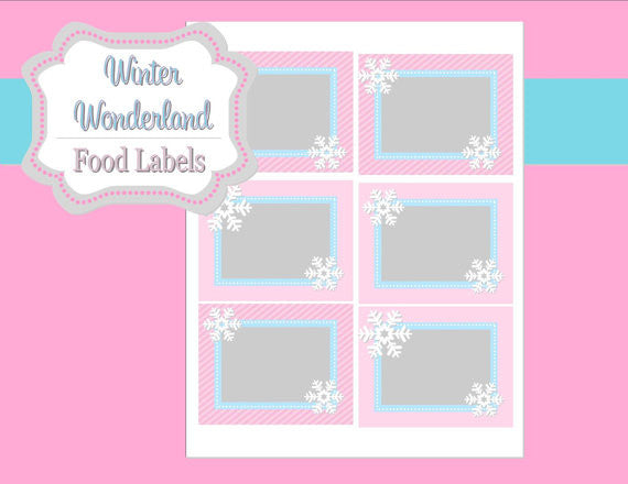 WINTER ONEDERLAND Birthday Party - Snowflake FOOD LABELS