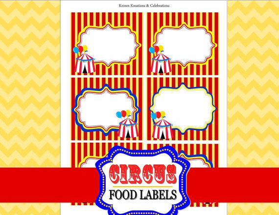 CIRCUS Birthday Party- Carnival- Circus Party- FOOD LABELS