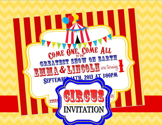 Circus Birthday Party- Circus Invitation- Carnival Invite- Circus