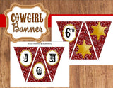 Cowboy Birthday- Western Party- Rodeo- Red- Cowboy BANNER- Cowboy Party