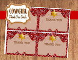 COWBOY Party- Red Cowboy Birthday- THANK YOU CARDS- Western Party