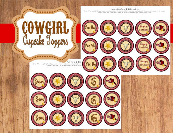 COWBOY Party- Horse Party- Red- Cowboy CUPCAKE TOPPERS- Western Party