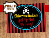 Pirate Birthday Party - Pirate SIGN - Boy Pirate Birthday Party - Girls Pirate Party - Pirate Ship Party - Pirate Printables