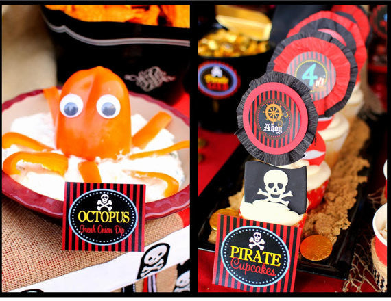 PIRATE Birthday Party - Pirate FOOD LABELS - Pirate Party- Boys Birthday Party - Ship Party - Pirate Ship Party - INSTANT DOWNLOAD