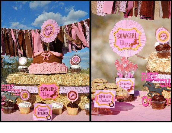 PINK COWGIRL Party- Horse Party - Horse- CUPCAKE TOPPER- Cowgirl Party