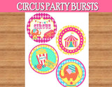 Circus Birthday- Carnival Party- Circus Party- NAPKIN RINGS- Girly Circus