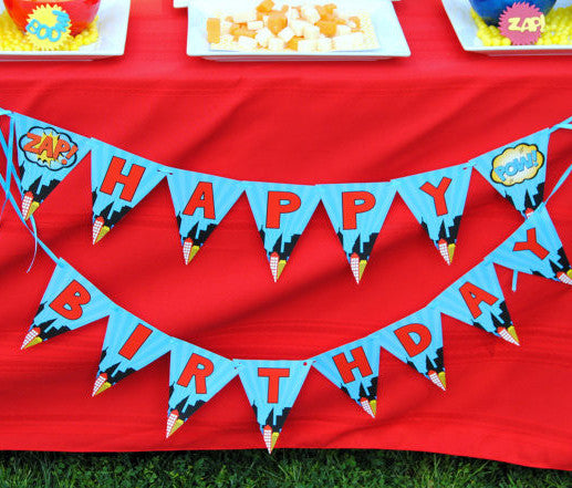 SUPERHERO Party - Superhero Happy Birthday BANNER- Comic Party - Superhero Party