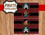 PIRATE Printables - Pirate BOTTLE LABELS - Pirate Party - Pirates Ship Party - Pirate Birthday Party - Red Pirate