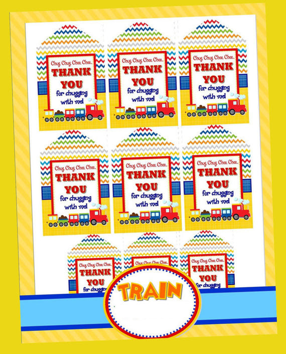 TRAIN Birthday Party - Train THANK YOU TAGS - Train Party Decorations - Train Party