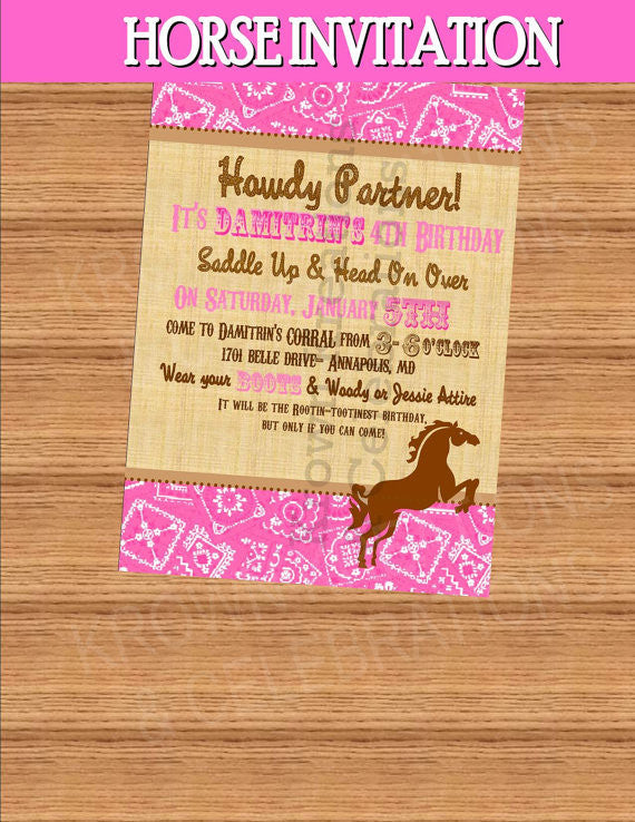 PINK COWGIRL INVITATION - Horse Party - Horse Invitation- Pink Cowgirl Party