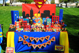 SUPERHERO Birthday Party- Superhero BANNER- Comic Party- Superhero Party