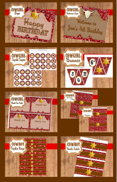COWBOY Party- Western Party- Rodeo- Red Cowboy Birthday Party- COMPLETE- Horse Party