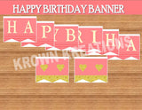 CORAL HAPPY BIRTHDAY BANNER- Coral and Gold- Birthday Party