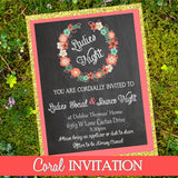 CORAL Wedding INVITATION- Chalk Invite- Coral Invitation- Ladies Invitation
