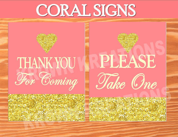 CORAL BRIDAL SHOWER- CORAL AND GOLD- Coral SIGN- Peach- Coral Decorations- Adult Woman Party