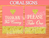 CORAL BRIDAL SHOWER- CORAL AND GOLD SIGNS- Coral Decorations- Peach