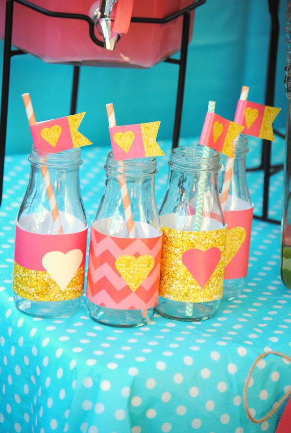 CORAL BRIDAL SHOWER- Coral and Gold- Peach- BOTTLE WRAPPERS- Coral Decorations