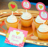 Coral and Gold- CORAL PARTY- CUPCAKE TOPPERS- Peach- ADULT PARTY