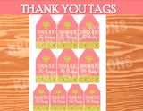 CORAL BRIDAL SHOWER- Coral and Gold- THANK YOU TAGS- Peach- Coral Wedding