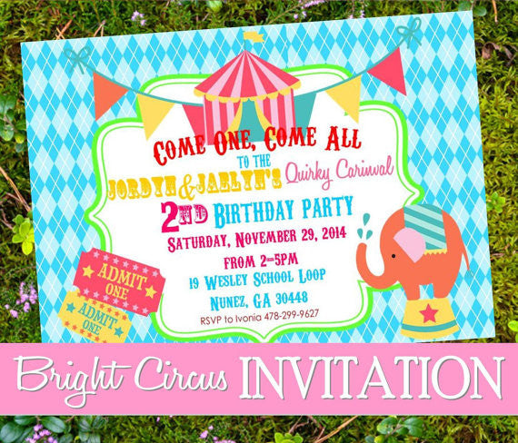CIRCUS Birthday- Circus INVITATION- Carnival Party- Bright Circus- CIRCUS PARTY