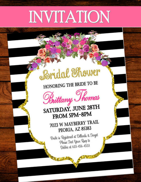 Black and White Stripe INVITATION - Bridal Shower Invite- Rose -Purple