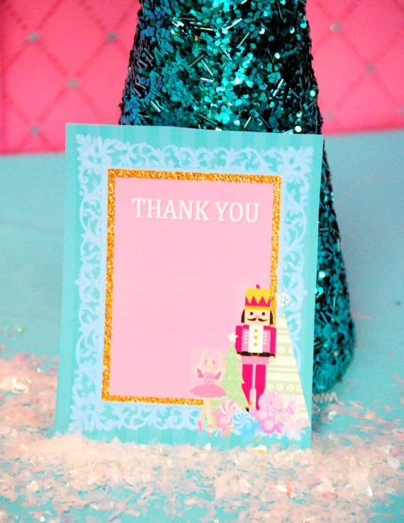 NUTCRACKER Birthday - Nutcracker THANK YOU CARD - Nutcracker Party- Ballerina Party- Winter Party