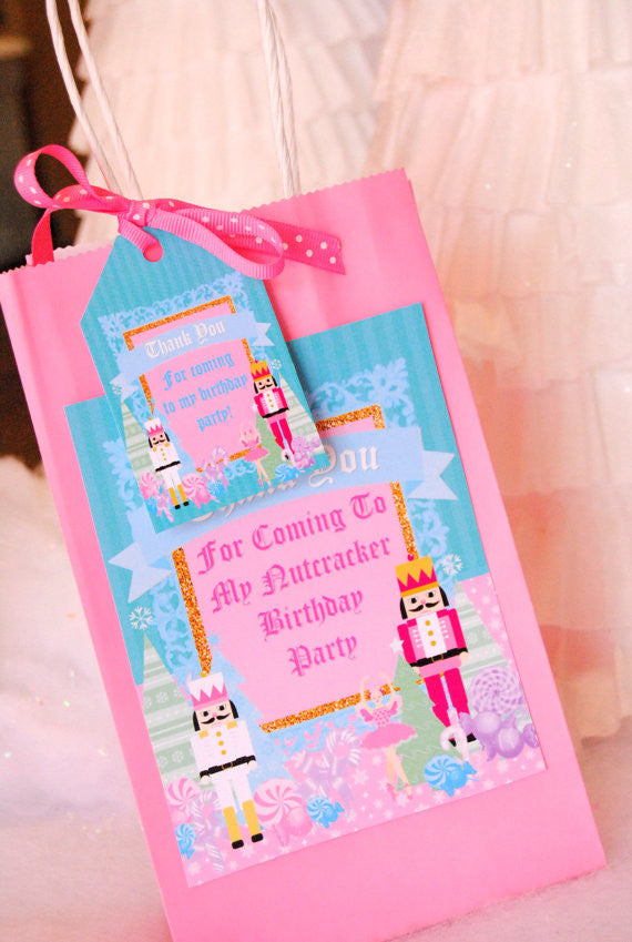 NUTCRACKER Birthday - Nutcracker THANK YOU Tags - Nutcracker Party- Ballerina Party- Winter Party