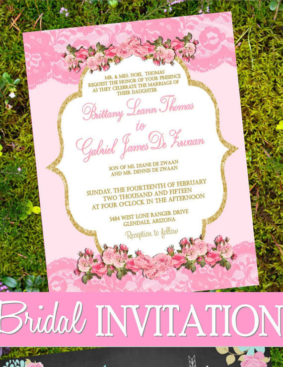 Gold and Pink Wedding INVITATION - Pink Floral Invite