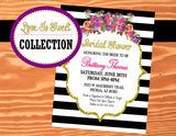 Black and White Bridal Shower INVITATION- Black and White Stripe- Purple