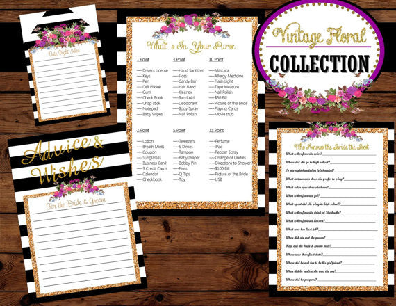 Bridal Shower GAME CARDS-  Black and White Striped