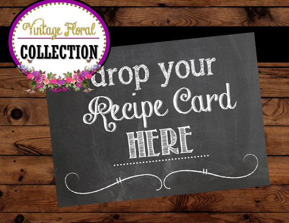 BRIDAL Shower SIGN - CHALKBOARD Wedding Sign - RECIPE CARD Sign