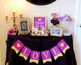 Purple BRIDAL SHOWER- Purple and Gold - BURSTS- Wedding