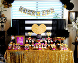Gold Heart- Miss to Mrs BANNER- Black and White Stripe- Bridal Shower