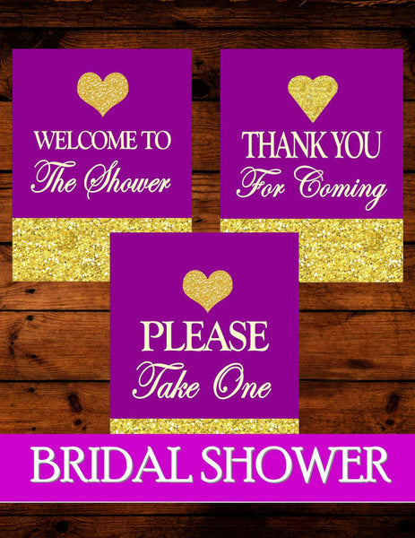 BRIDAL SHOWER SIGNS - Purple Bridal Shower - Wedding