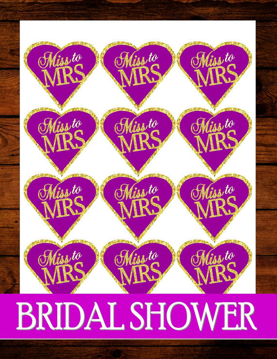 Purple BRIDAL SHOWER Heart CUPCAKE TOPPERS
