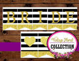 Gold Heart - BANNER - Black and White Stripe - Wedding Banner - LOVE Banner - Wedding - Glitter Heart - Bridal Shower - INSTANT DOWNLOAD