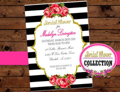 Black and White Stripe INVITATION - Coral Invitation - Wedding