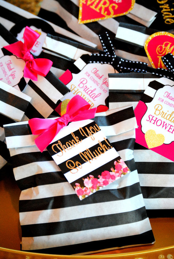 BRIDAL SHOWER - THANK YOU- Black and White Stripe