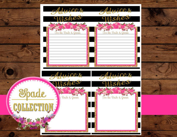 Bridal Shower ADVICE CARDS -  Black and White Striped