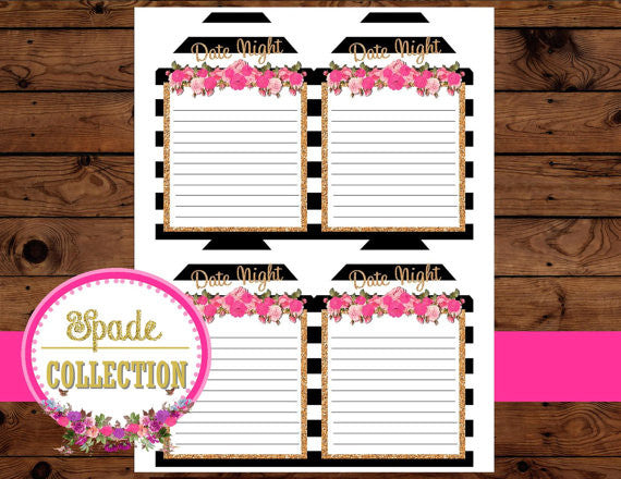 Bridal Shower DATE NIGHT TAGS- Black and White Stripe