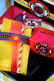 FIRE FIGHTER Party- FIREMAN Party- Fire Truck- NAPKIN RINGS