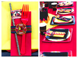 FIRE FIGHTER Party- FIREMAN Party- Fire Truck- STRAW FLAGS