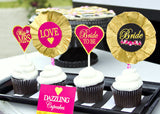 Bridal Shower- Heart BURSTS- Gold Heart- Gold and Pink