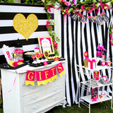 BRIDAL SHOWER - Bridal SIGN - Black and White Stripe - Pink Wedding