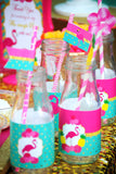 FLAMINGO Birthday Party- Hawaiian Luau- Luau- TOPPERS