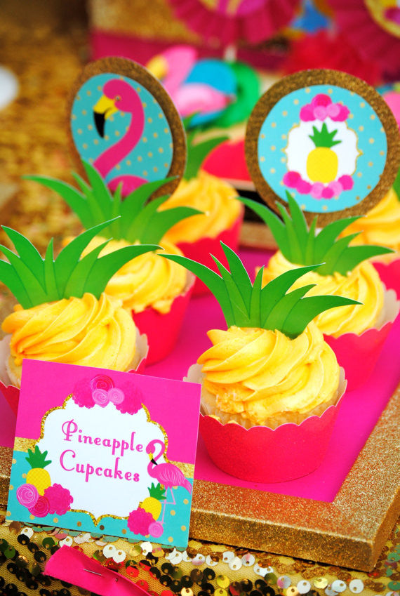 FLAMINGO Party- Flamingo Birthday - Pineapple- PINEAPPLE TOPPERS- Luau Party- Flamingo Printables